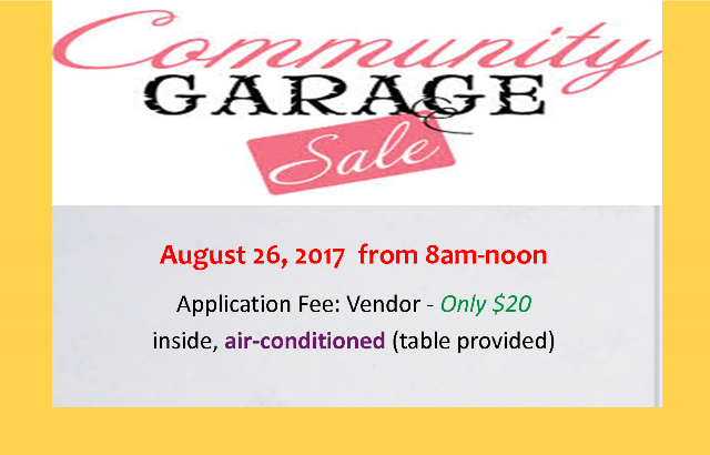 Community Garage Sale | Saturday 8/26/17