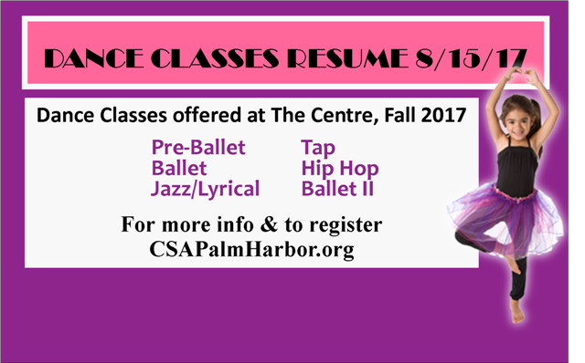 Dance Classes Resume 8/15/17. Sign up now!