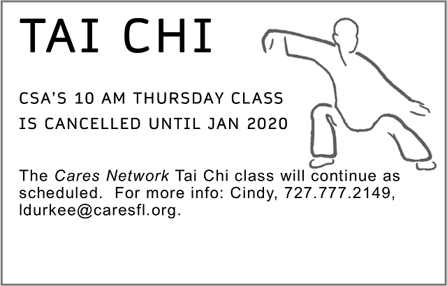 CSA's Tai Chi Class suspended until January 2020