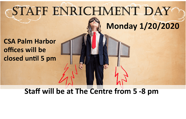 The Centre will be closed Monday 1/20 until 5 pm