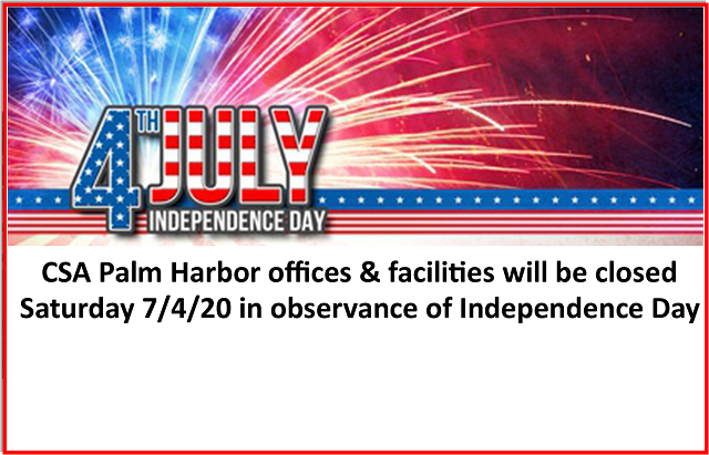 CSA Closed for Independence Day | July 4, 2020