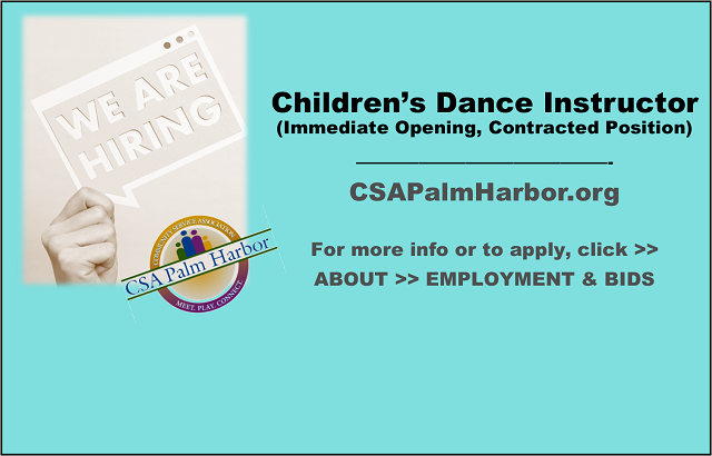 Hiring a Children's Dance Instructor.  Apply today!