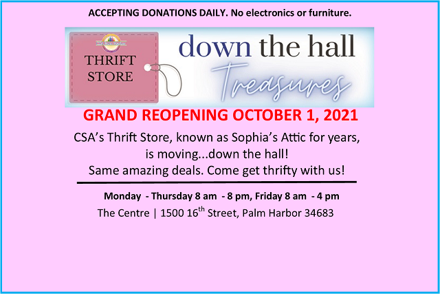 Down the Hall Treasures, Thrift Store NOW OPEN